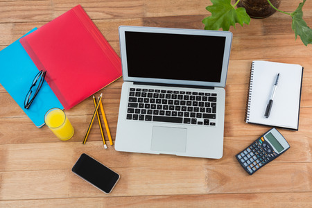 Delicieux Office Accessories With Mobile Phone And Laptop On Table Stock Photo    65509578