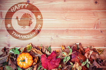overhead: happy thanksgiving against overhead view of pumpkins surrounded by leaves on table