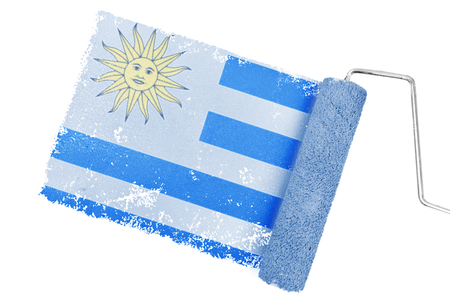national identity: Uruguay national flag against gray paint with roller