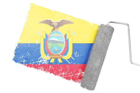 national identity: Ecuador national flag against gray paint with roller