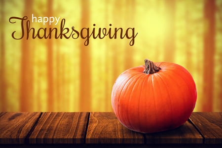 western script: Digital generated image of thanksgiving greeting against close-up of pumpkin