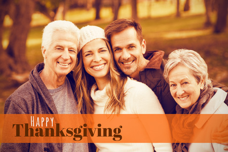 weekend activities: Digitally generated image of happy thanksgiving text against portrait of a smiling family