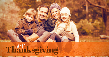 weekend activities: Digitally generated image of happy thanksgiving text against smiling young family sitting in leaves