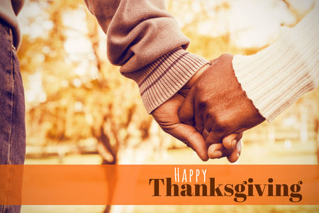 digitally generated image: Digitally generated image of happy thanksgiving text against close up view of senior couple holding hands
