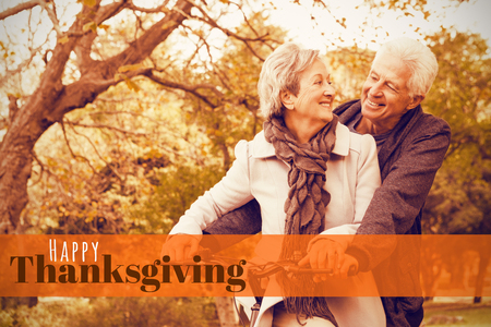 Senior couple in the park against digitally generated image of happy thanksgiving text Stock Photo