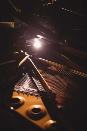 struck: Close-up of piano instrument in a studio