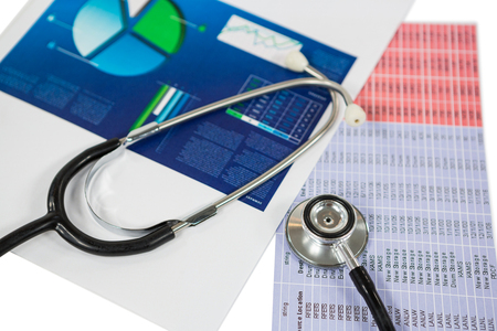 diagnose: Stethoscope, graph chart, pen and calculator on white background