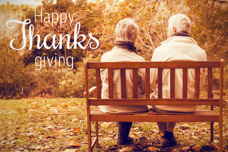 Thanksgiving greeting text against senior couple in the park