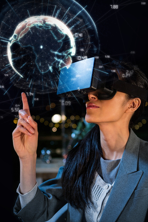 fishtank: Image of earth with different times against female businesswoman using virtual reality headset