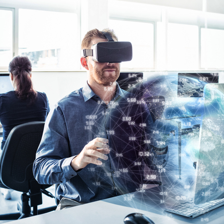 virtual reality simulator: Earth globe against businessman wearing virtual reality simulator