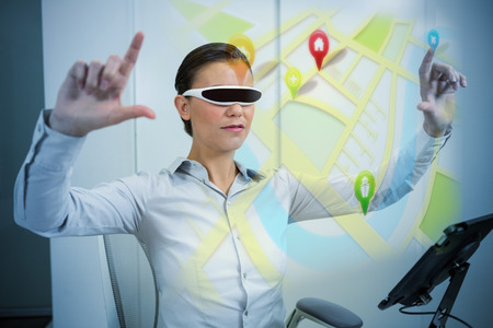 virtual reality simulator: Map app against businesswoman using virtual reality simulator  with arms raised