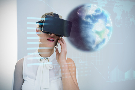 virtual reality simulator: Earth globe against businesswoman using mobile phone and virtual reality simulator