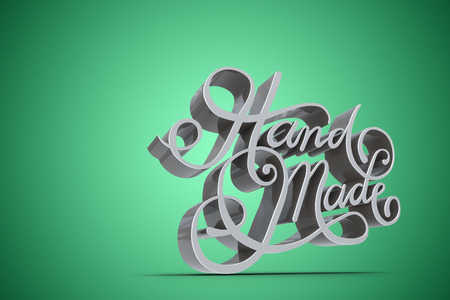 Illustration of hand made text against green vignette Stock Photo