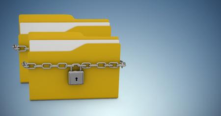 Illustration of yellow locked folder with padlock against purple vignette