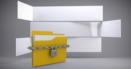 Locked yellow folder  against abstract room