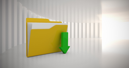 Folders with green download arrow against white curved room Stock Photo