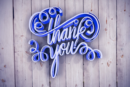Digitally generated image of thank you text over white screen against wooden background