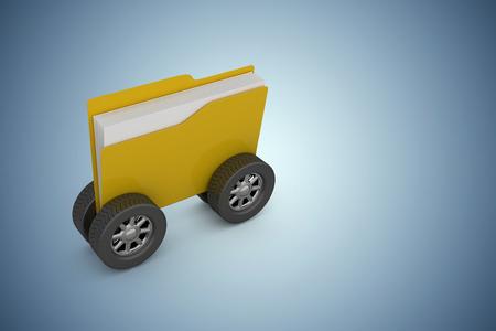 Illustration of folder with wheels against purple vignette
