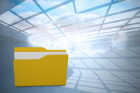 Digital image of yellow folder with paper against room with holographic cloud