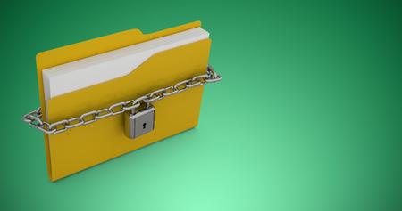 Illustration of locked yellow folder  against green vignette