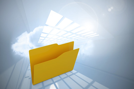 Empty yellow folder against room with holographic cloud