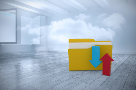 Illustration of yellow folder with arrow sign against room with holographic cloud Stock Photo