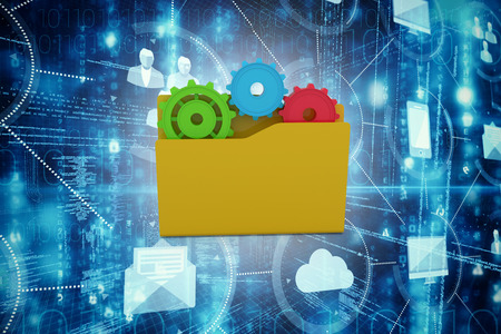 Yellow folder with gears against cloud computing and icons