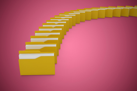 companionship: Illustration of yellow folders against red vignette