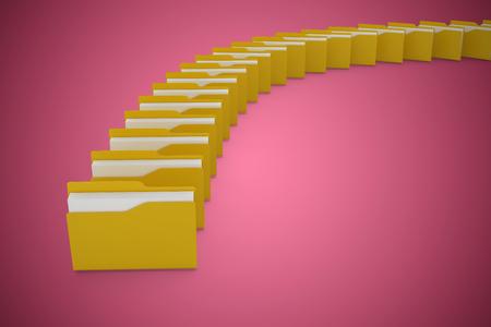 Illustration of yellow folders against red vignette