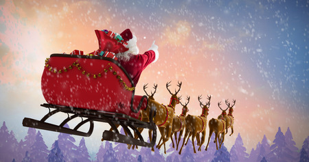 Santa Claus riding on sleigh with gift box against fir tree forest
