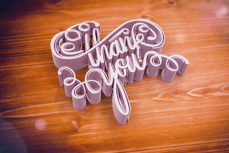 Illustration of thank you text against wooden floor Stock Photo