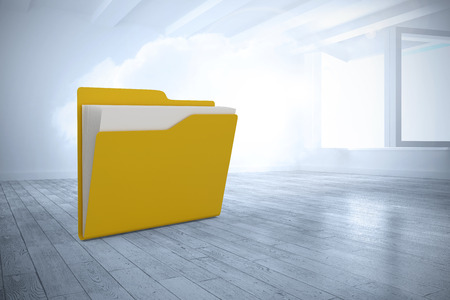 Yellow folder with document against room with holographic cloud