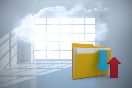 Illustration of folder with red and blue arrow sign against room with holographic cloud Stock Photo
