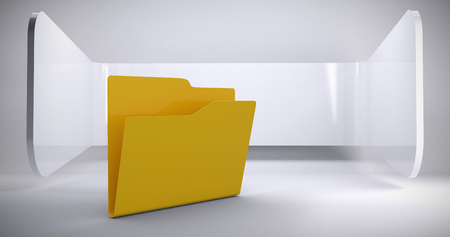 Illustration of empty yellow folder against abstract room