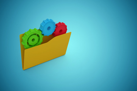 Yellow folder with colorful gears against blue vignette background Stock Photo