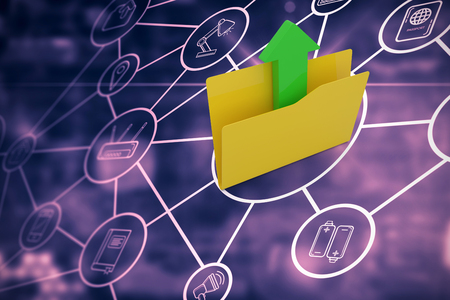 Yellow folder with uploading arrow symbol against network of cloud computing icons Stock Photo