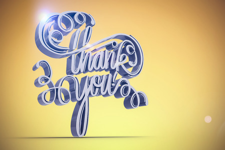 Illustration of  thank you text over white screen against yellow vignette