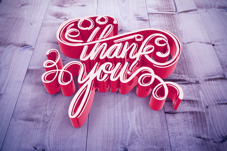 Illustration of of thank you text against bleached wooden planks background Stock Photo