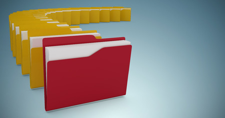 Illustration of red and yellow folders against grey vignette