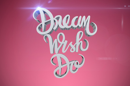 Digitally generated image of dream wish do text against red vignette
