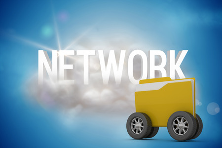 Digital image of yellow folder with wheels against network on a floating cloud