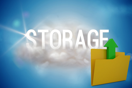 companionship: Illustration of yellow folder with uploading arrow symbol against storage on a floating cloud