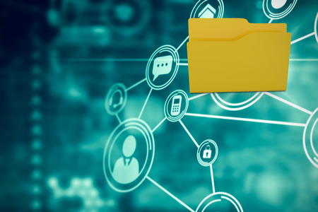 fond de texte: Illustration du dossier jaune contre communication icônes de nuages