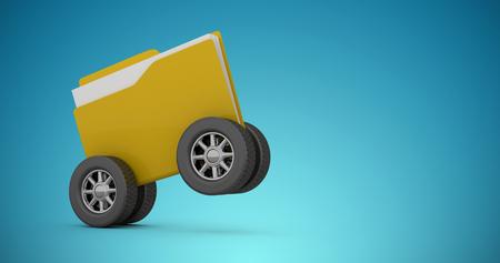 hoja de calculo: Ilustración de la carpeta con el neumático contra el fondo azul viñeta