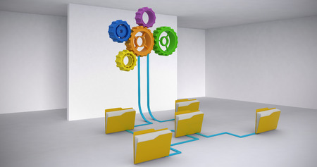 Digital image of yellow folders connected with gears against abstract room