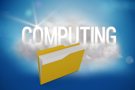 companionship: Digital image of yellow folder with document against computing on a floating cloud