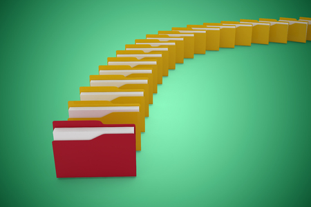 Digital image of red and yellow folders against green vignette Stock Photo