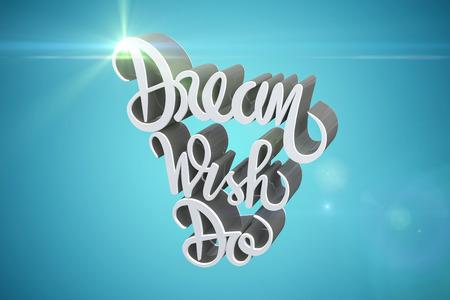 companionship: Dream wish do text against white background against blue vignette background