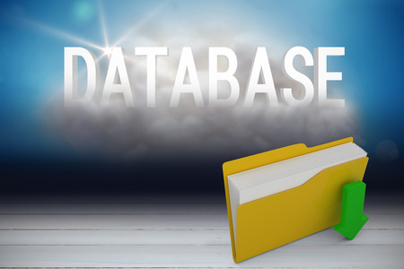 Digital image of yellow folder with downloading arrow symbol against database cloud in room