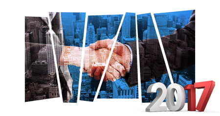 composite image: Composite image of gray and red numbers against composite image of close up of two businesspeople shaking their hands